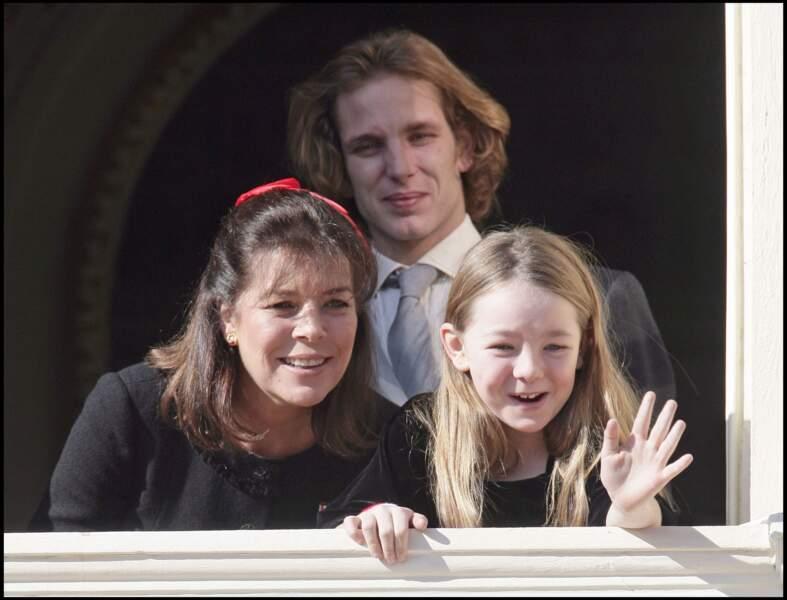 La prince Caroline avec ses enfants Andrea Casiraghi et Alexandra de Hanovre, lors de la fête nationale monégasque, le 19 novembre 2008.