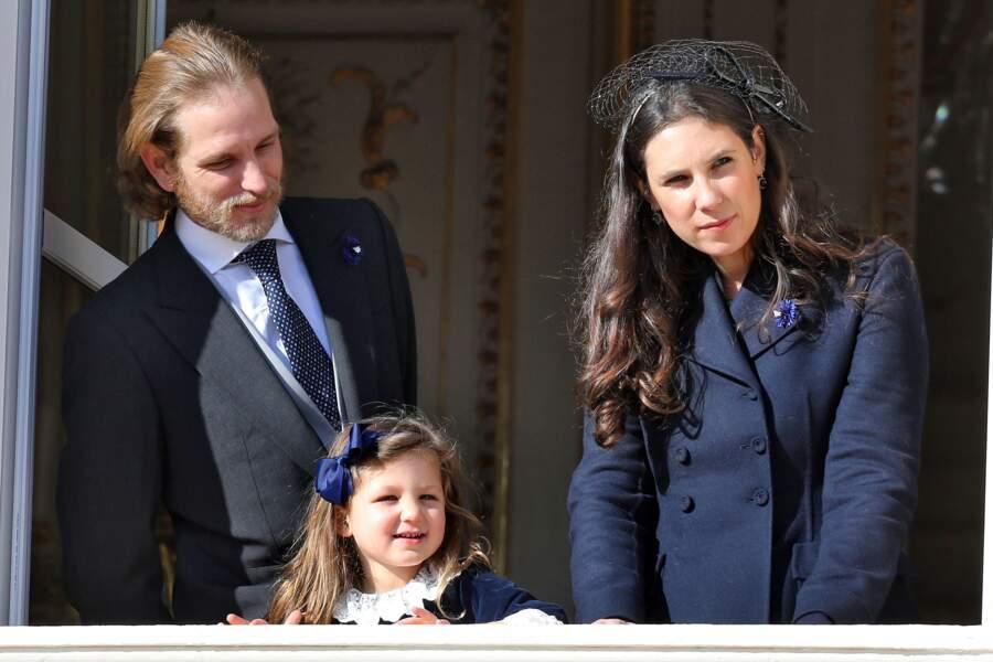 Andrea Casiraghi, sa femme Tatiana Santo Domingo et leur fille India lors de la fête nationale monégasque, le 19 novembre 2018 à Monaco.