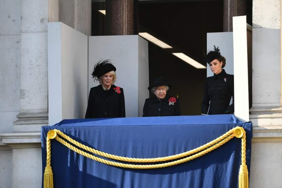 Kate Middleton avec la monarque britannique et sa belle-mère