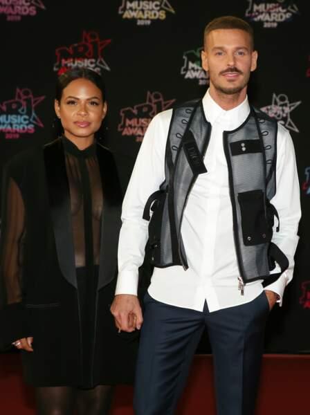 Christina Milian enceinte et son compagnon Matt Pokora à la 21ème édition des NRJ Music Awards à Cannes