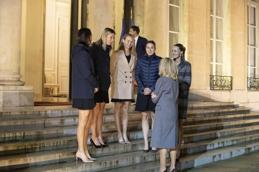 Brigitte Macron était venue saluer les Bleues après la victoire de la Fed Cup