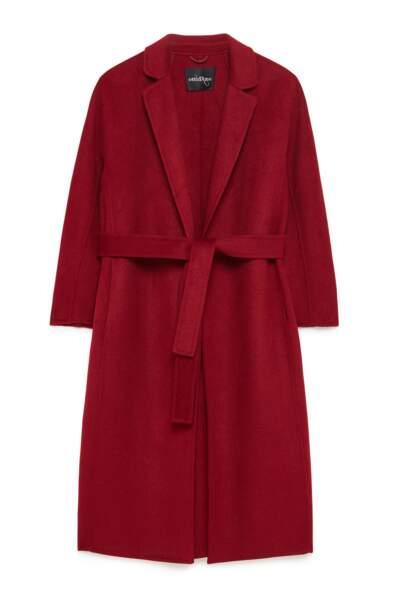 Manteau bordeaux en laine mélangée, 295 €, Otto d'ame