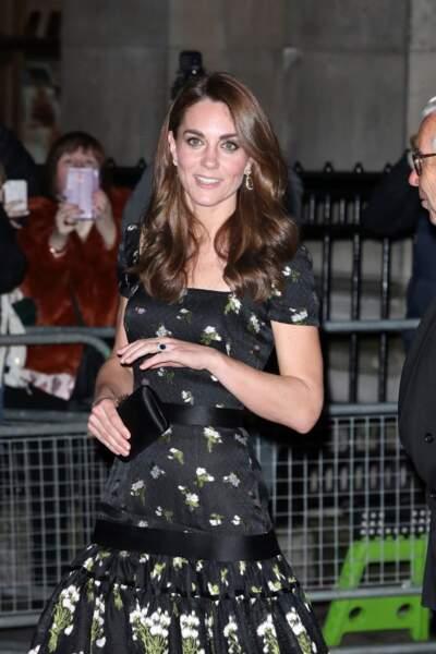 Kat Middleton,à la soirée Portrait Gala 2019 à Londres, le 12 mars 2019. Elle porte sa bague de fiançailles offerte par le prince William, héritage de sa mère, Lady Diana.