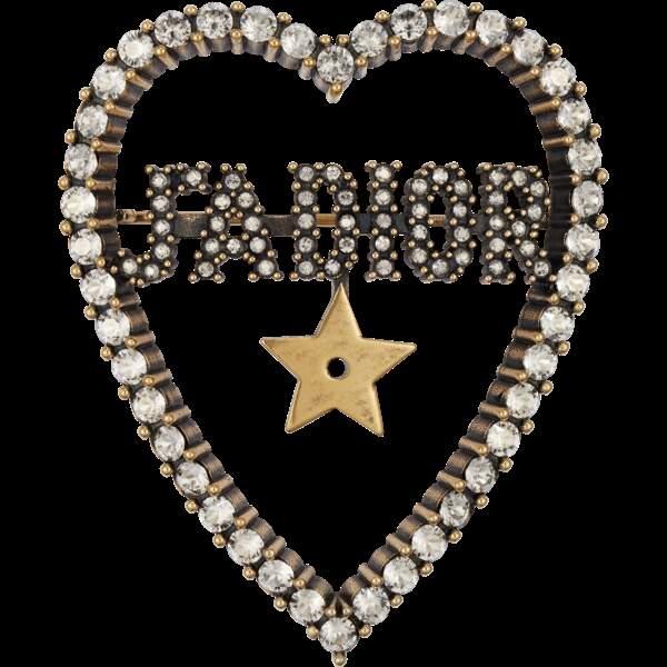 Broche en métal vieilli et cristaux blancs, 390 €, Dior