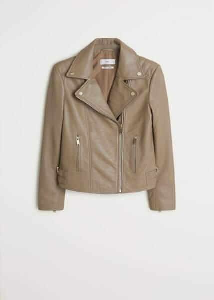 La veste en cuir façon biker, Mango, 149,99€.