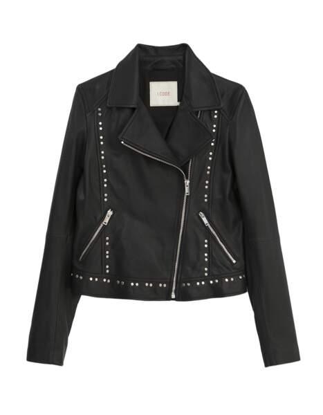 La veste en cuir noir cloutée, I.Code, 339€.