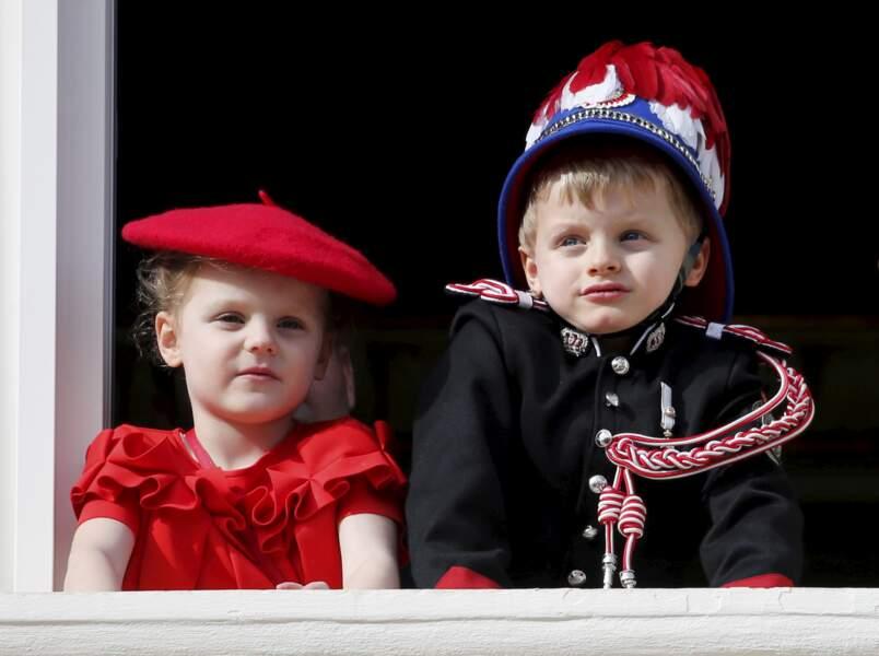 19 novembre 2019 : La princesse Gabrilla et le Prince Jacques lors de la fête National monégasque à Monaco.