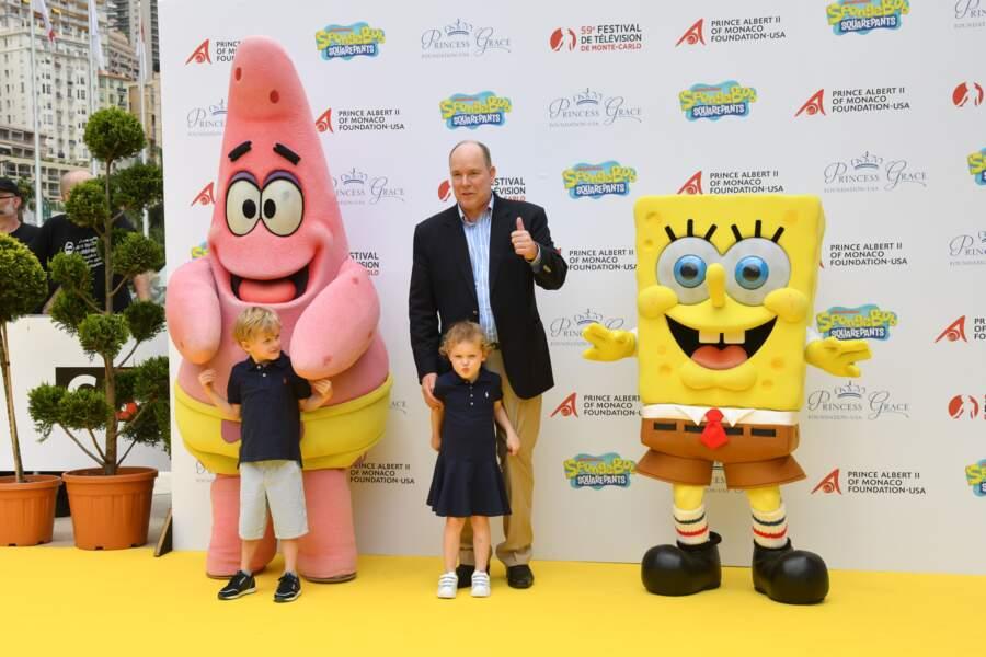 16 juin 2019 : Jacques et Gabriella de Monaco sont accompagnés de leur père, le Prince Albert de Monaco. Ils sont présents pour l'anniversaire des 20 ans de Bob l'Eponge au Festival de la télévision de Monte-Carlo.