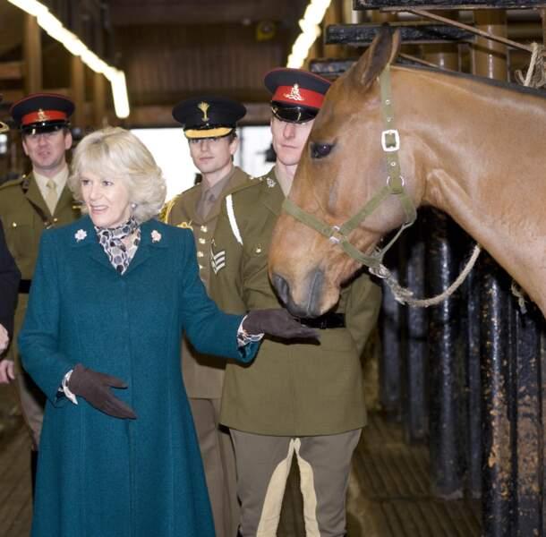 28 janvier 2010 : Camilla Parker Bowles, grande amoureuse des chevaux depuis toujours, rendait visite aux Kings Troop.