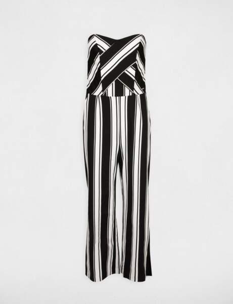 Combinaison bustier au pantalon 7/8ème rayée écru, Morgan, 95€.