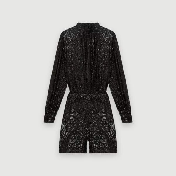 La combinaison-short à sequins noirs, Maje Paris, 250€.