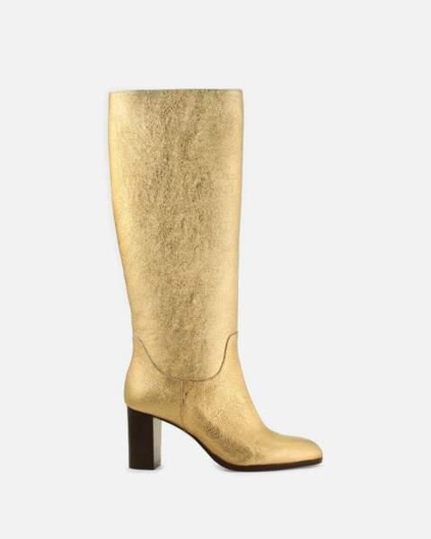 "Bottes hautes ""Savanna/Met"" dorées métallisées, Cosmoparis, 290€."