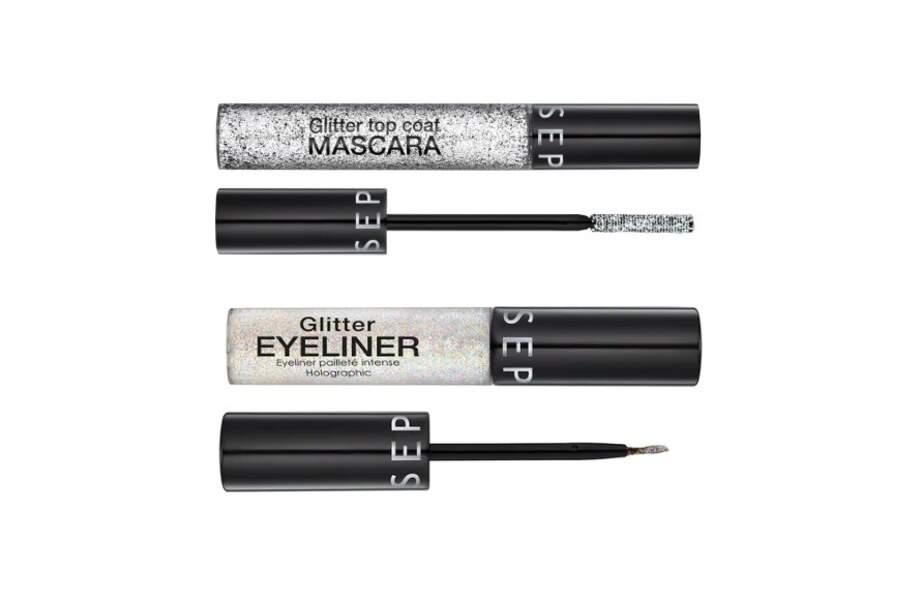 Mascara et eyeliner pailletés, Sephora, 8,99€ et 10,99€