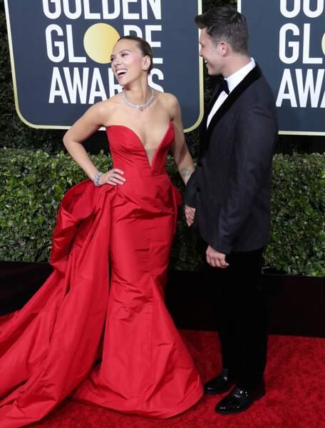 Scarlett Johansson sublime dans une robe longue et décolleté bustier signée Vera Wang.