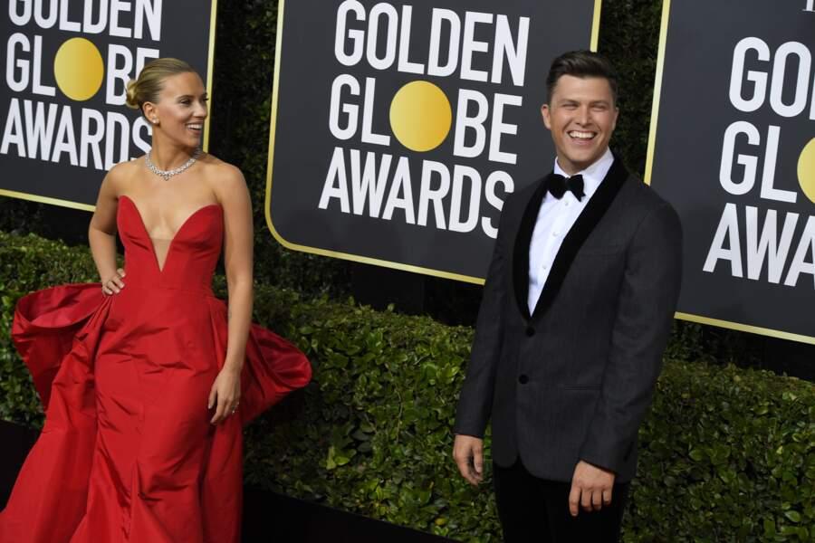 Scarlett Johansson et son fiancé Colin Jost, très détendus et chic lors des Golden Globes 2020.