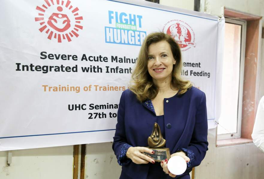 27 janvier 2014 : Valérie Trierweiler est à Bombay en Inde et visite un centre de réhabilitation nutritionnelle.