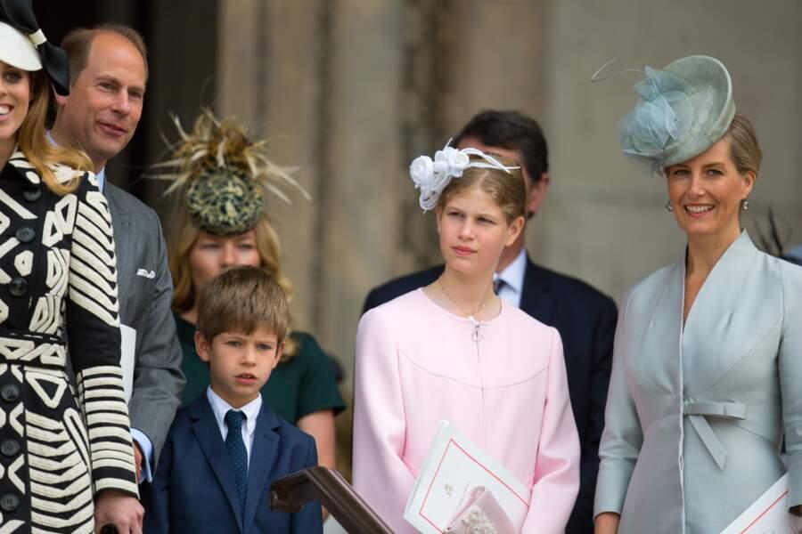 Le prince Edward, comte de Wessex, James Mountbatten-Windsor, Lady Louise Windsor et la comtesse Sophie de Wessex lors de la messe à la cathédrale St Paul de Londres pour le 90ème anniversaire de la reine Elisabeth II, le 10 juin 2016