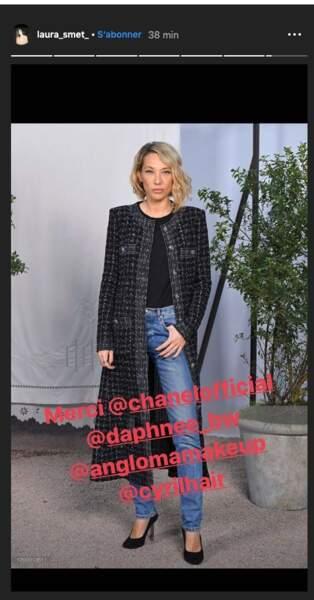 Laura Smet a partagé sur instagram sa joie d'assister au défilé Chanel.