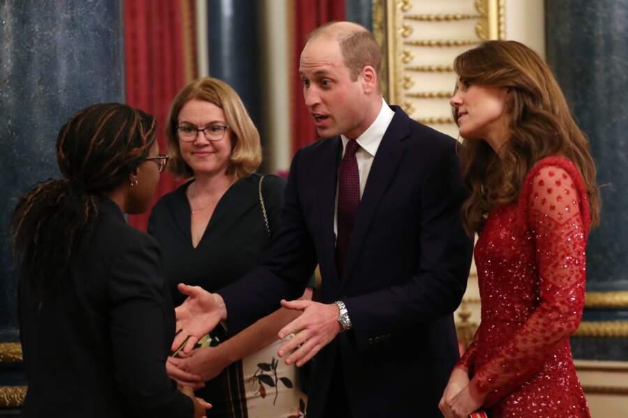 """Kate Middleton et le prince William accueillent les invités de la réception organisée pour le """"Sommet Grande-Bretagne-Afrique sur les investissements"""" à Buckingham Palace, le 20 janvier 2020."""
