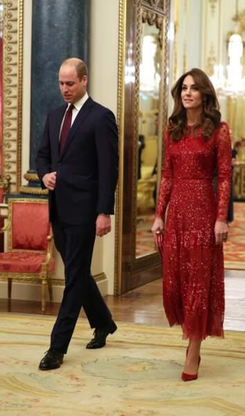 """Le prince William, duc de Cambridge, et Kate Middleton, duchesse de Cambridge, accueillent les invités de la réception organisée pour le début du """"Sommet Grande-Bretagne-Afrique sur les investissements"""" à Buckingham Palace, le 20 janvier 2020."""