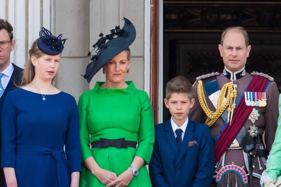 Les Wessex et leurs enfants au balcon du palais de Buckingham lors de la parade Trooping the Colour 2019, célébrant le 93ème anniversaire de la reine Elisabeth II, Londres, le 8 juin 2019.