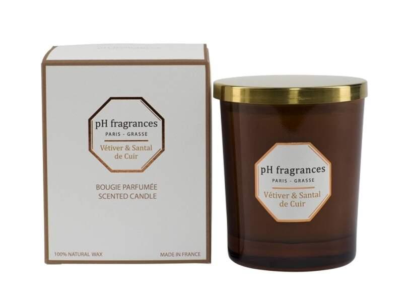 Bougie Vetiver et Santal de cuir, pH Fragrances, 60€