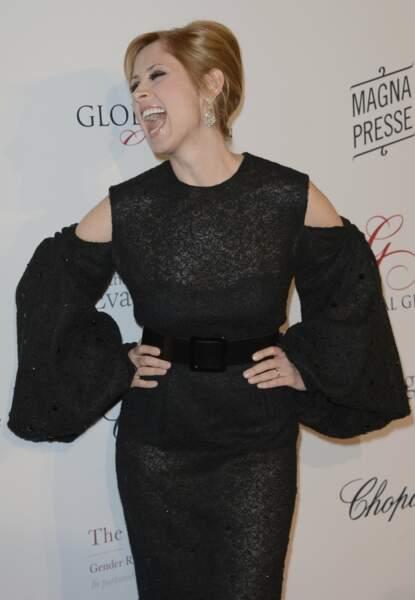 13 mai 2013 : Lara Fabian très heureuse lors de la 4e édition du Global Gift Gala. Un mois plus tard, la chanteuse se marie avec Gabriel di Giorgio, son compagnon depuis plusieurs années.