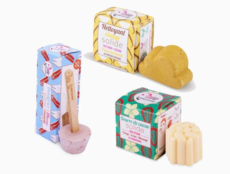 Nettoyant visage, beurre corporel solide, dentifrice sucette à la cannelle, Lamazuna, 12,50€, 9,90€ et 8,50€