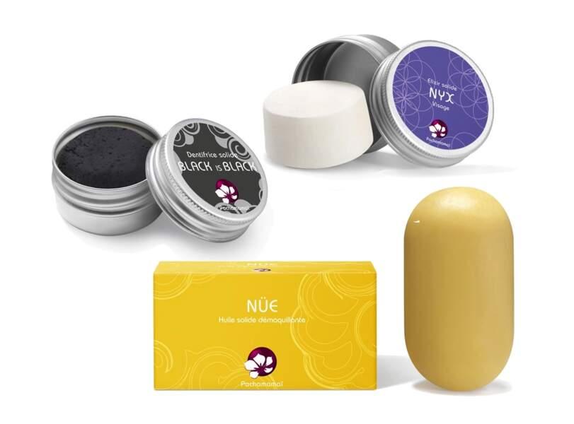 Huile démaquillante, dentifrice et soin visage solide, Pachamamaï, 18,50€, 28€ et 13€