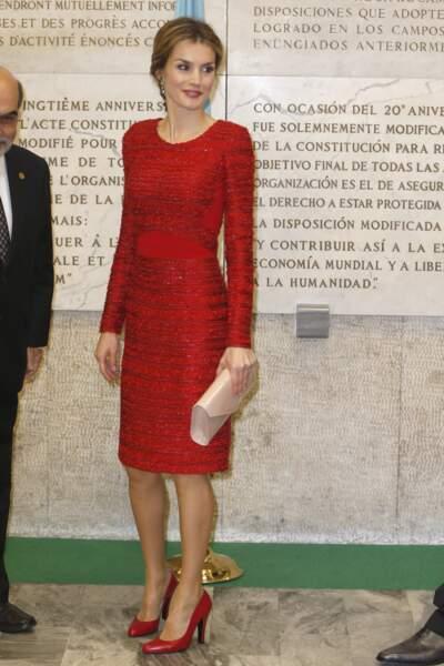 20 novembre 2014 : Letizia reine d'Espagne, est arrivée à la seconde conférence internationale sur la nutrition de l'Organisation des Nations unies dans une sublime robe de Felipe Varela. Étant un de ses créateurs favoris, elle porte également un sac venant de la même maison.