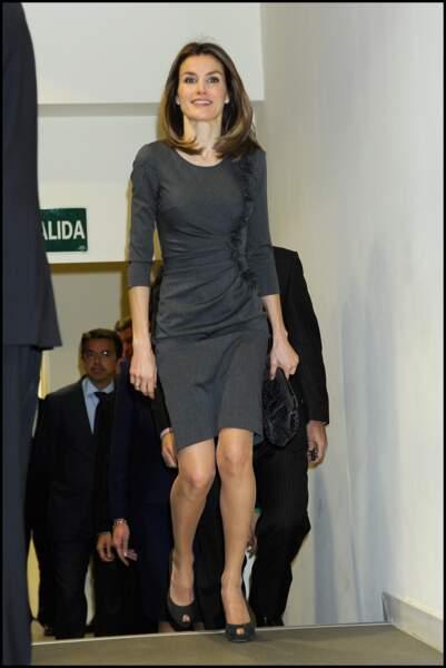 2012 : A 40 ans, Letizia est une princesse moderne et ses goûts pour la mode se sont affinés avec les années. Letizia d'Espagne assiste au lancement de l'association espagnole contre le cancer. Un événement auquel elle est arrivée en robe cintrée et coupée au-dessus du genou.