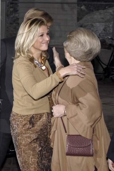 La princesse Maxima des Pays-Bas en jupe léopard pour assister au prix de Prince Claus Awards en 2007.