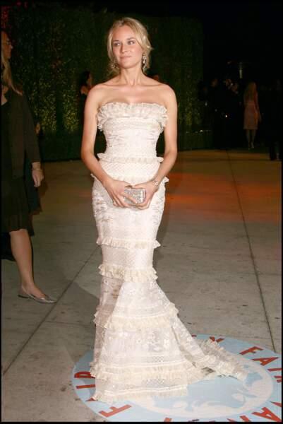 Diane Kruger porte une création Elie Saab lors de la soirée suivant les Oscars en 2006