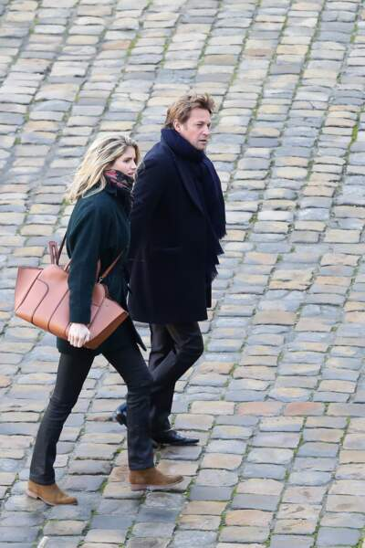 Laurent Delahousse et sa compagne Alice Taglioni lors de la cérémonie d'hommage à Jean d'Ormesson à Paris le 8 décembre 2017