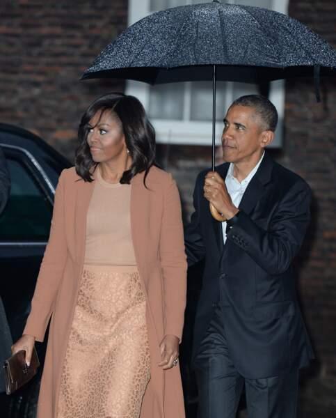 Barack Obama et sa femme Michelle Obama lors un dîner privé dans la résidence de Kensington à Londres le 22 Avril 2016