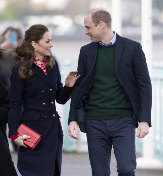 Kate Middleton et le prince William lors d'une visite aux Royal National Lifeboat Institution à Swansea le 4 février 2020