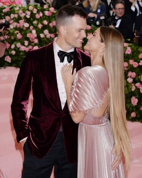 Gisele Bundchen et son mari Tom Brady lors de la 71e édition du MET Gala en mai 2019