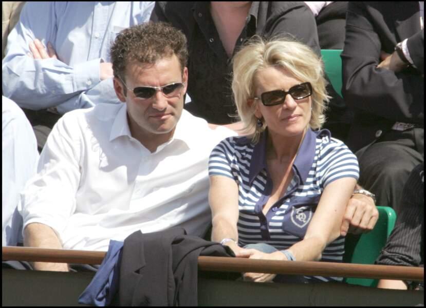 2006 : Sophie Davant et Pierre Sled lors du 6e jour des internationaux de France de Roland-Garros