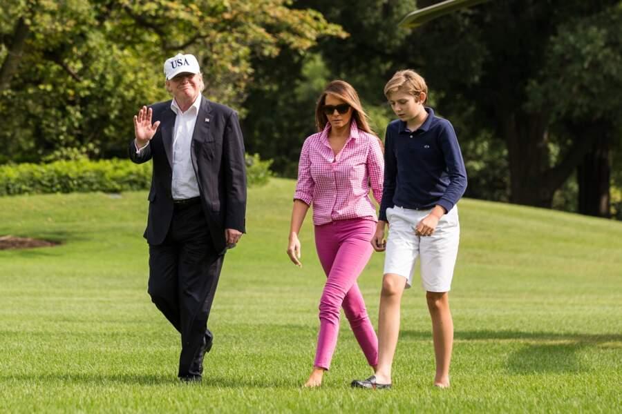 Barron Trump, Donald et Melania à la Maison Blanche, Washington le 27 aout 2017