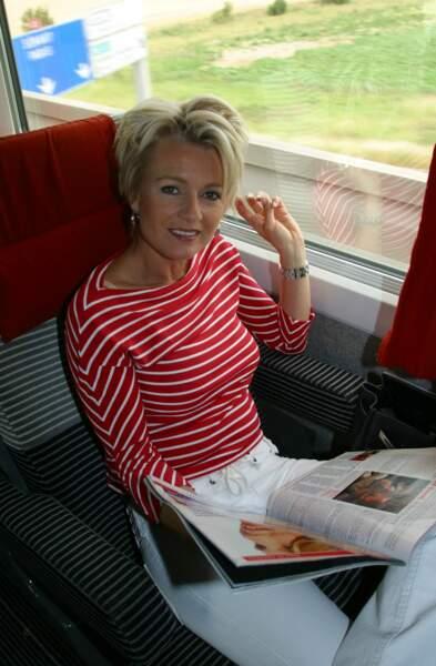 2002 : Sophie Davant au naturel dans le train pour Avignon