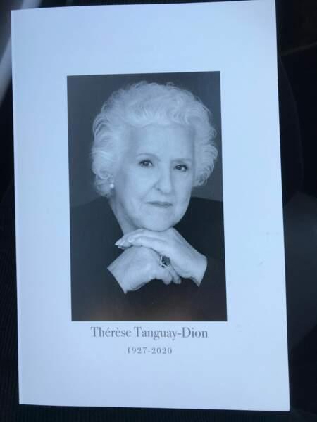 Le portrait très digne de Thérèse Tanguay-Dion, la maman de Céline Dion qui s'est éteinte le 1è janvier 2020 et qui est enterrée le 20 février 2020 à Montréal.