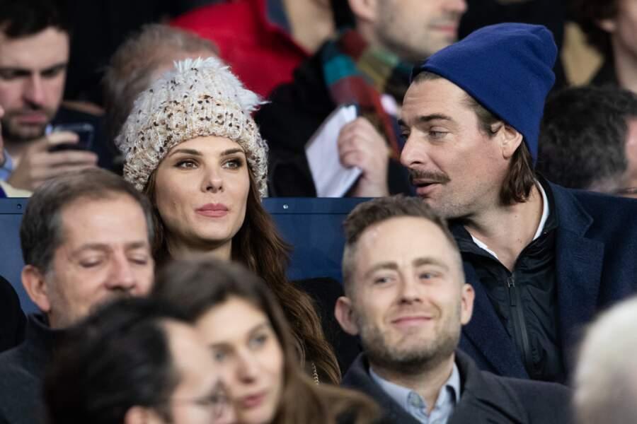 Camille Lacourt et sa compagne Alice Detollenaere ont assisté à la rencontre entre le PSG et Bordeaux à Paris, le 23 février 2020