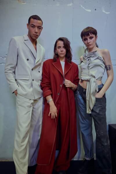 Pauline Ducruet prend la pose avec ses modèles pour sa collection automne/hiver 2020/2021.