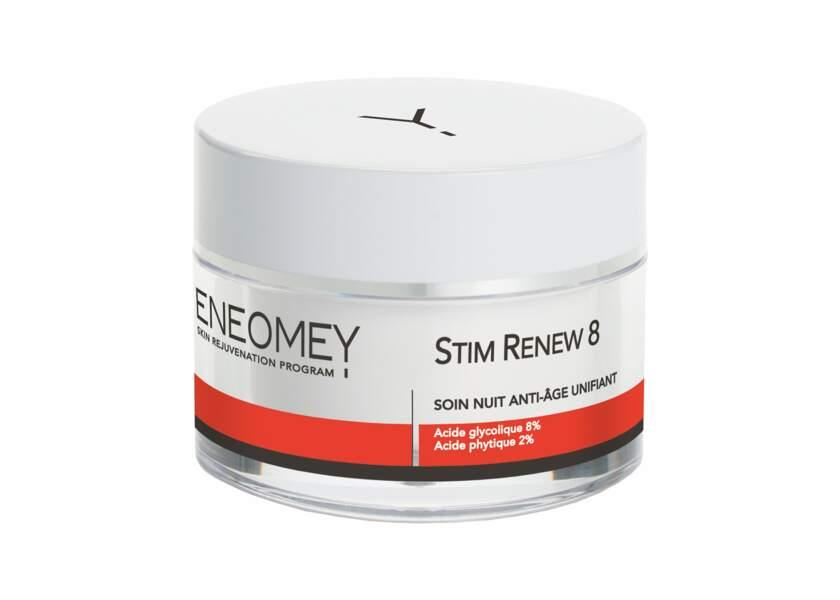 Le soin de nuit Stim Renew d'Eneomey active le renouvellement cellulaire et de stimuler la production de collagène et d'acide hyaluronique.