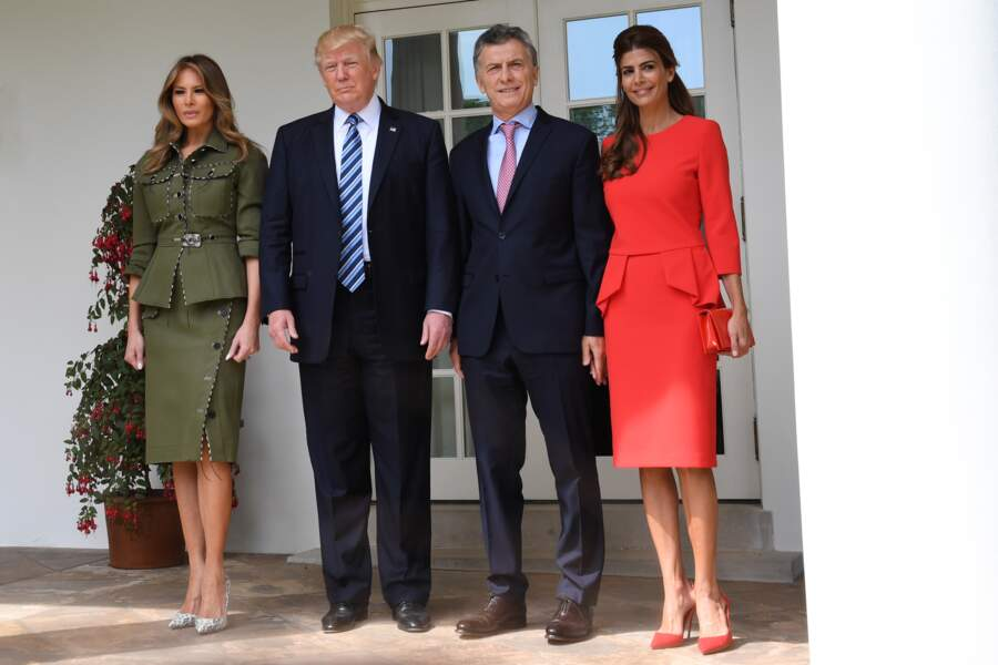 Donald et Melania Trump avec le président argentin Maurice Macri et son épouse Juliana à  Washington, le 27 avril 2017