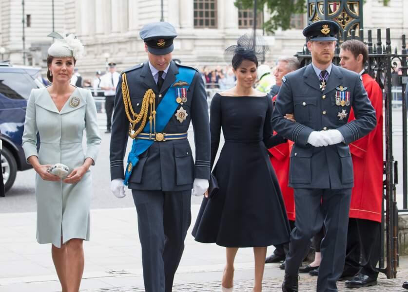 Le prince William, le prince Harry, Kate Middleton et Meghan Markle à l'abbaye de Westminster pour le centenaire de la RAF à Londres. Le 10 juillet 2018