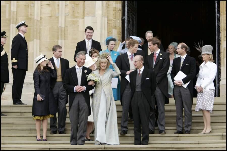 Le prince Charles et Camilla lors de leur mariage, le 9 avril 2005