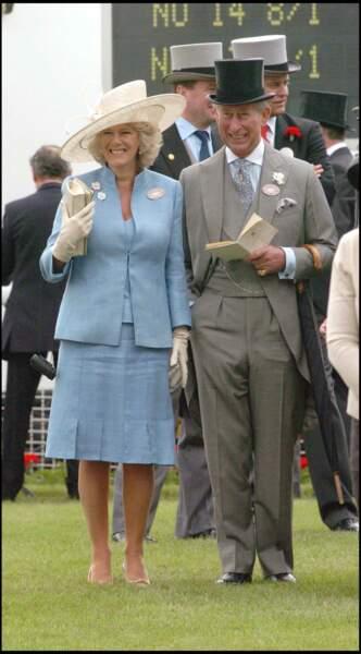 Le prince Charles et Camilla à Ascot, le 14 juin 2005