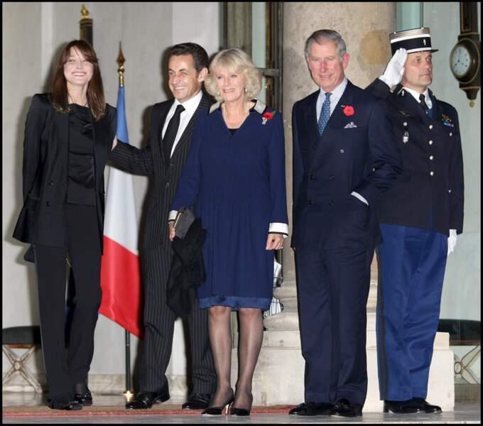 Charles et Camilla à l'Elysée, le 10 novembre 2008