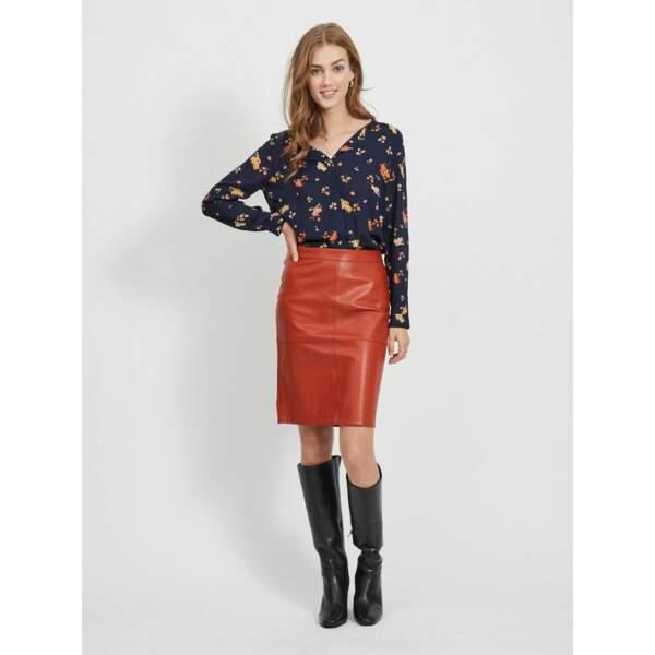 On copie avec la jupe en simili cuir, La Redoute,34,99€